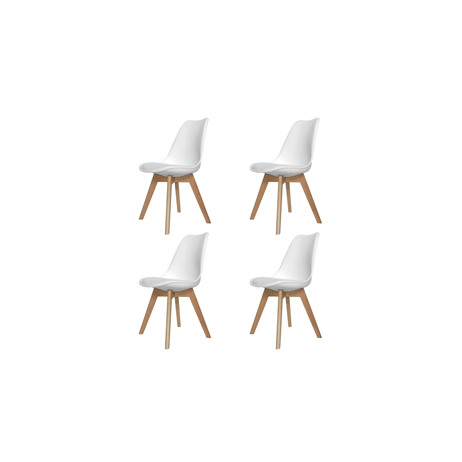 Pack de 4 sillas new tower blancas con patas rectangulares for Sillas de salon de diseno