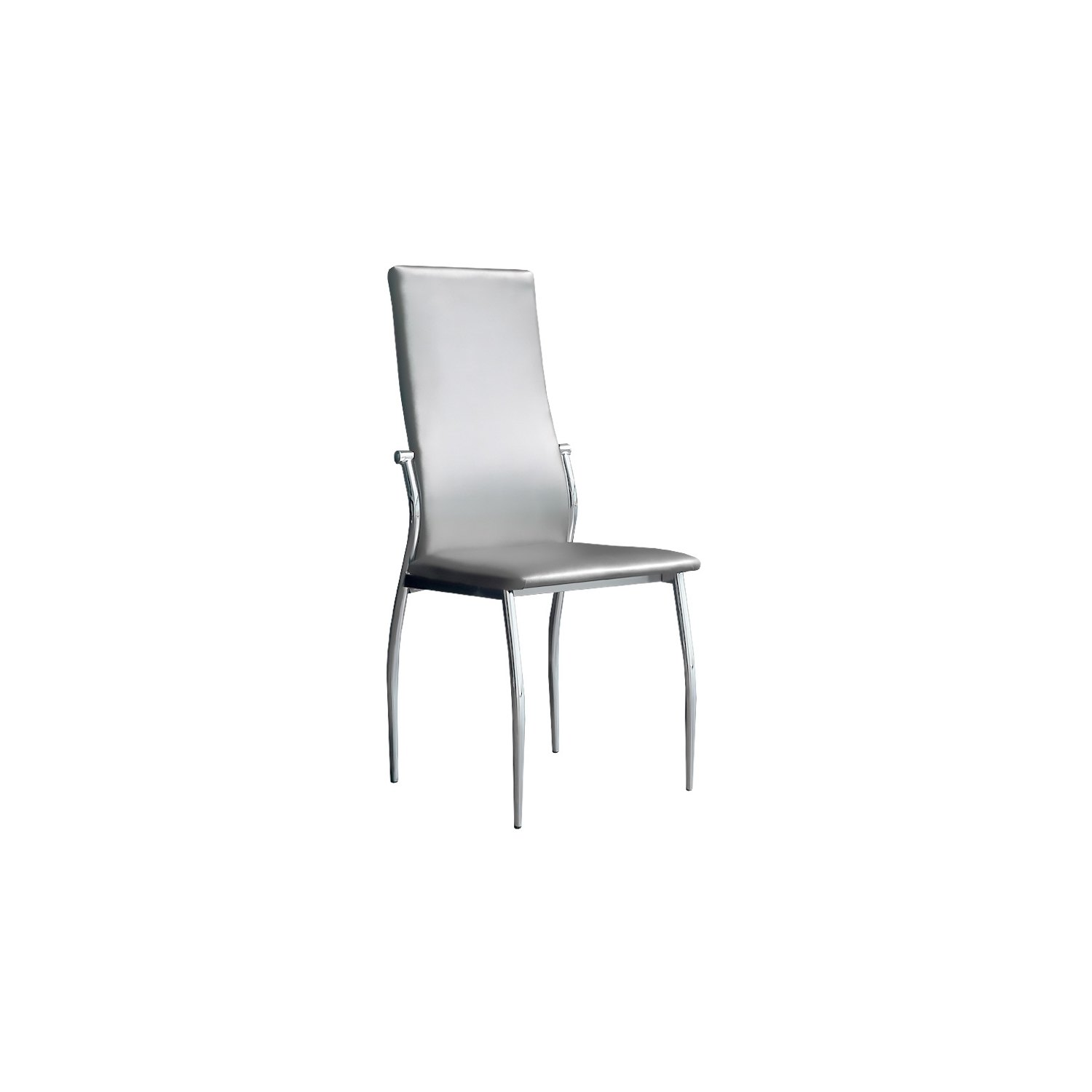 Silla tapizada boston de dise o en color plata for Sillas economicas para comedor