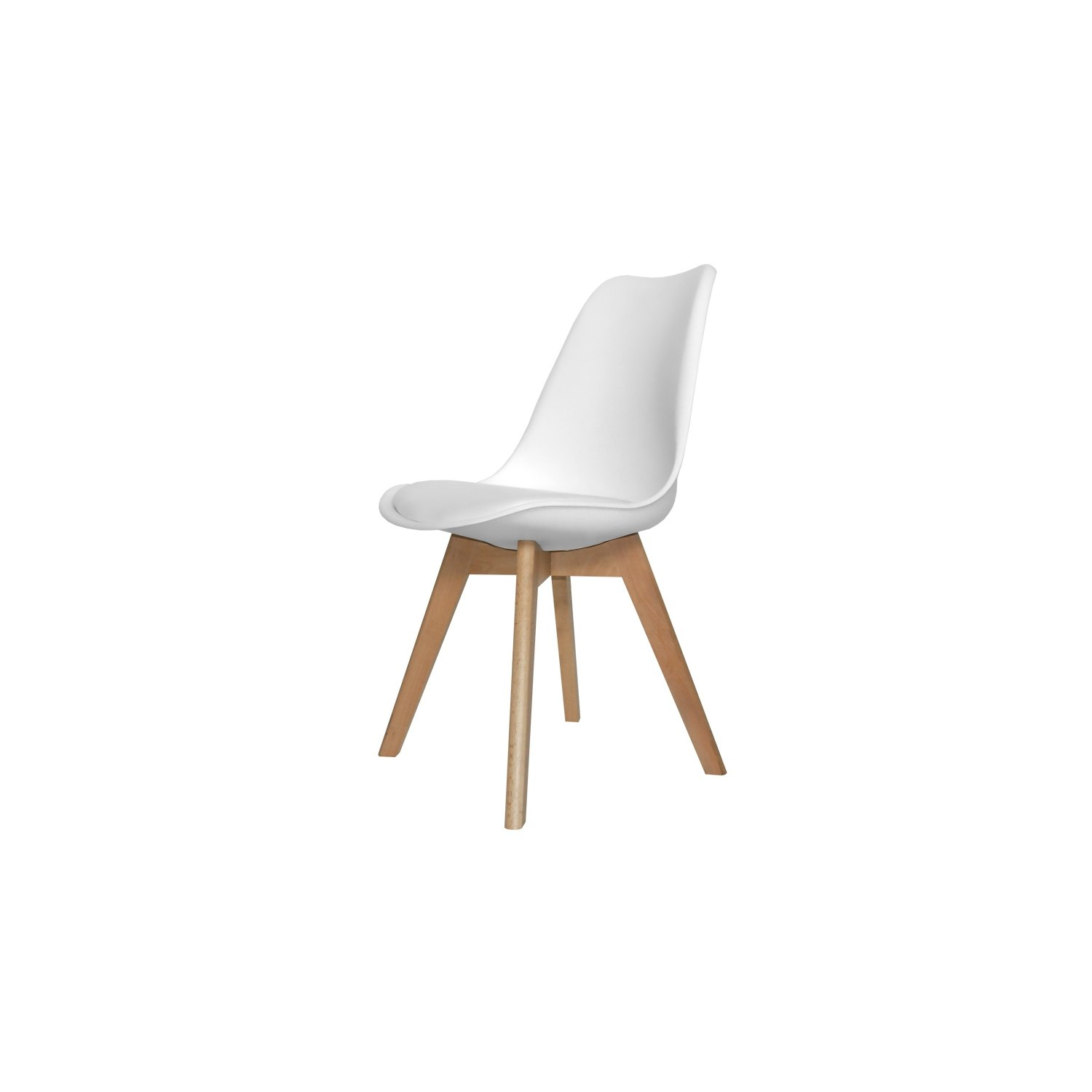 Silla new tower blanca con patas rectangulares en haya for Sillas de cocina baratas online