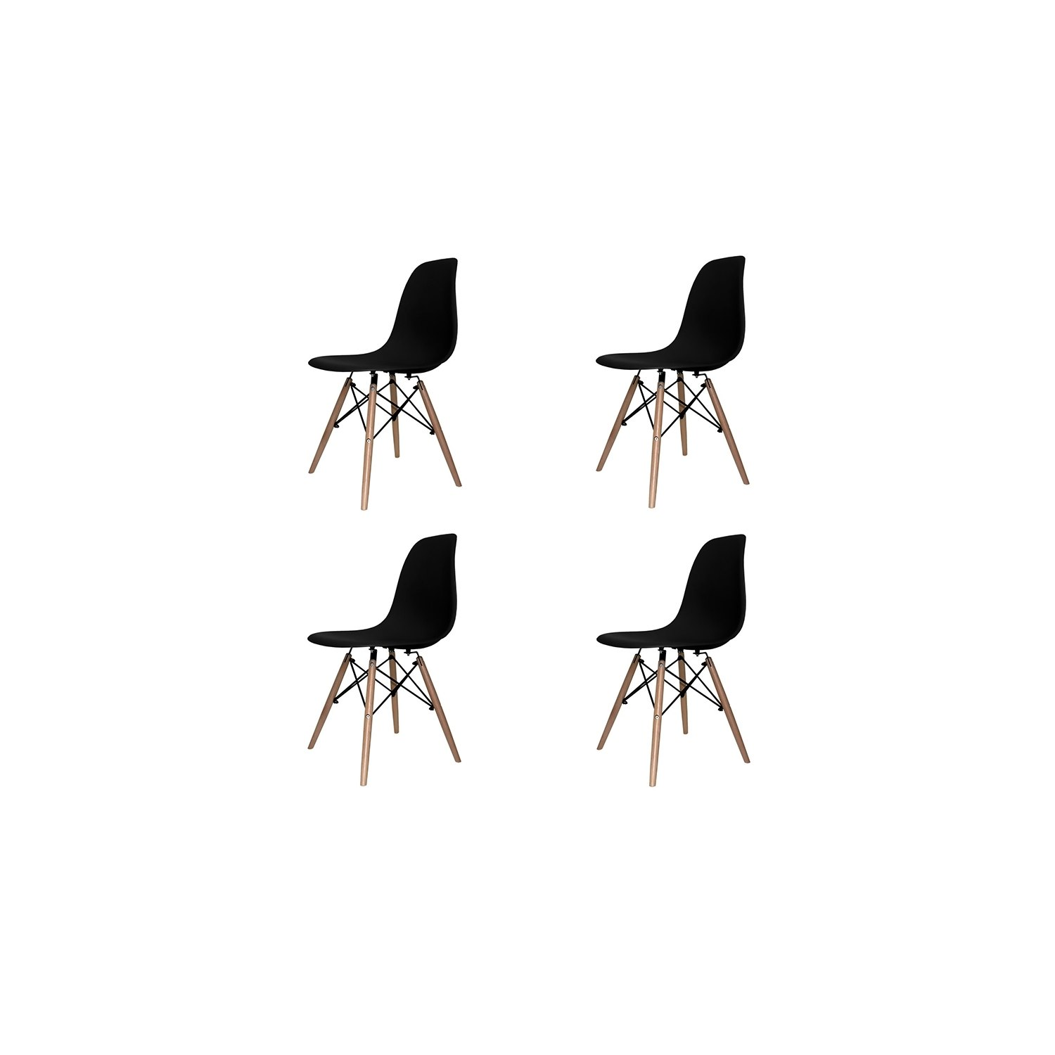 Great set sedie tower wood extra quality with sedie nere for Sedie nere ikea
