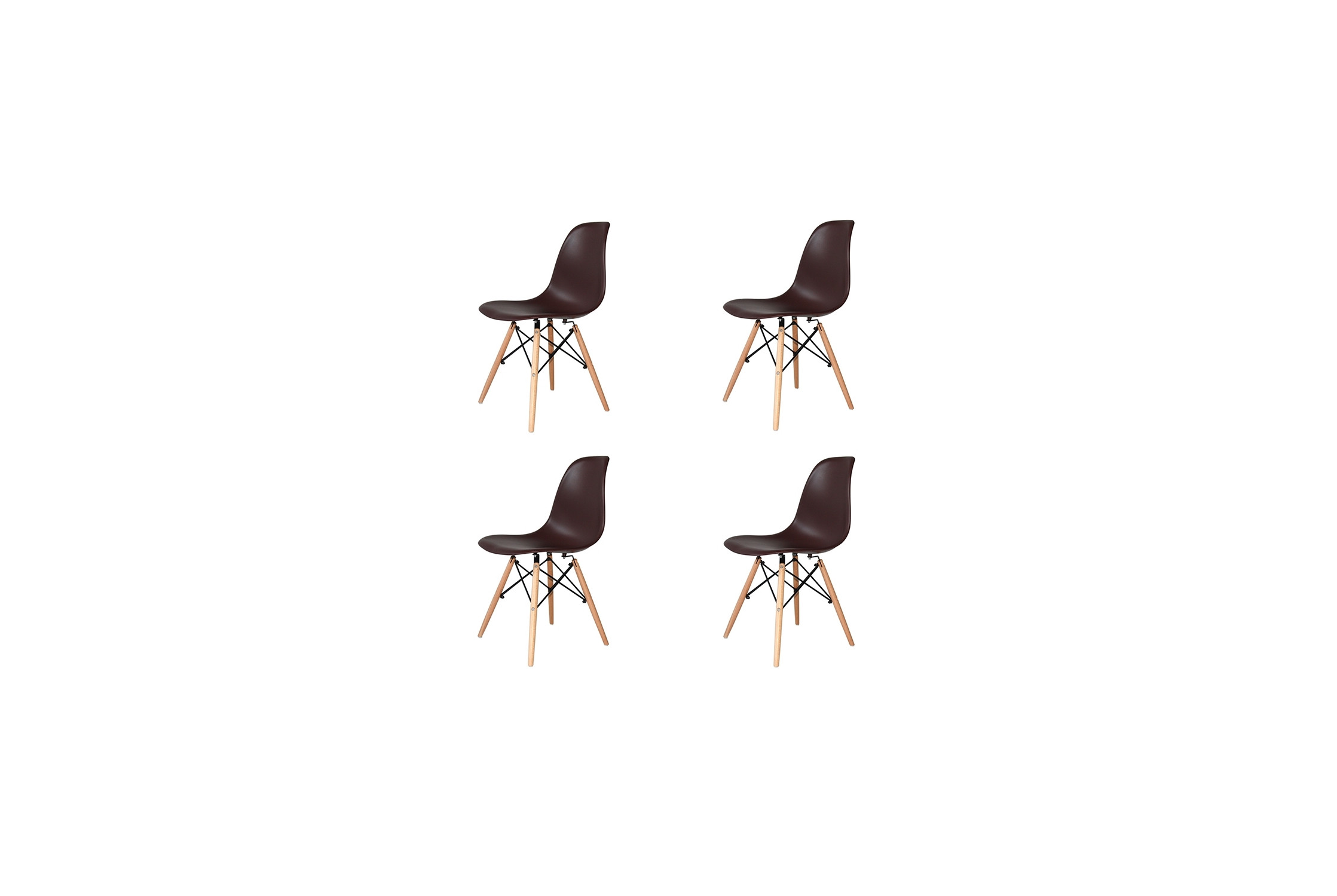 PACK 4 CHAISES TOWER WOOD CHOCOLAT EXTRA QUALITY