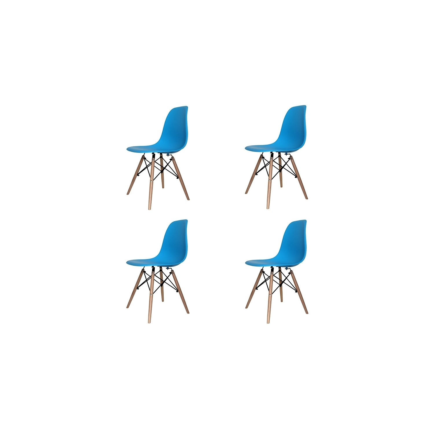 pack 4 chaises tower wood bleues extra quality ventemeublesonline. Black Bedroom Furniture Sets. Home Design Ideas