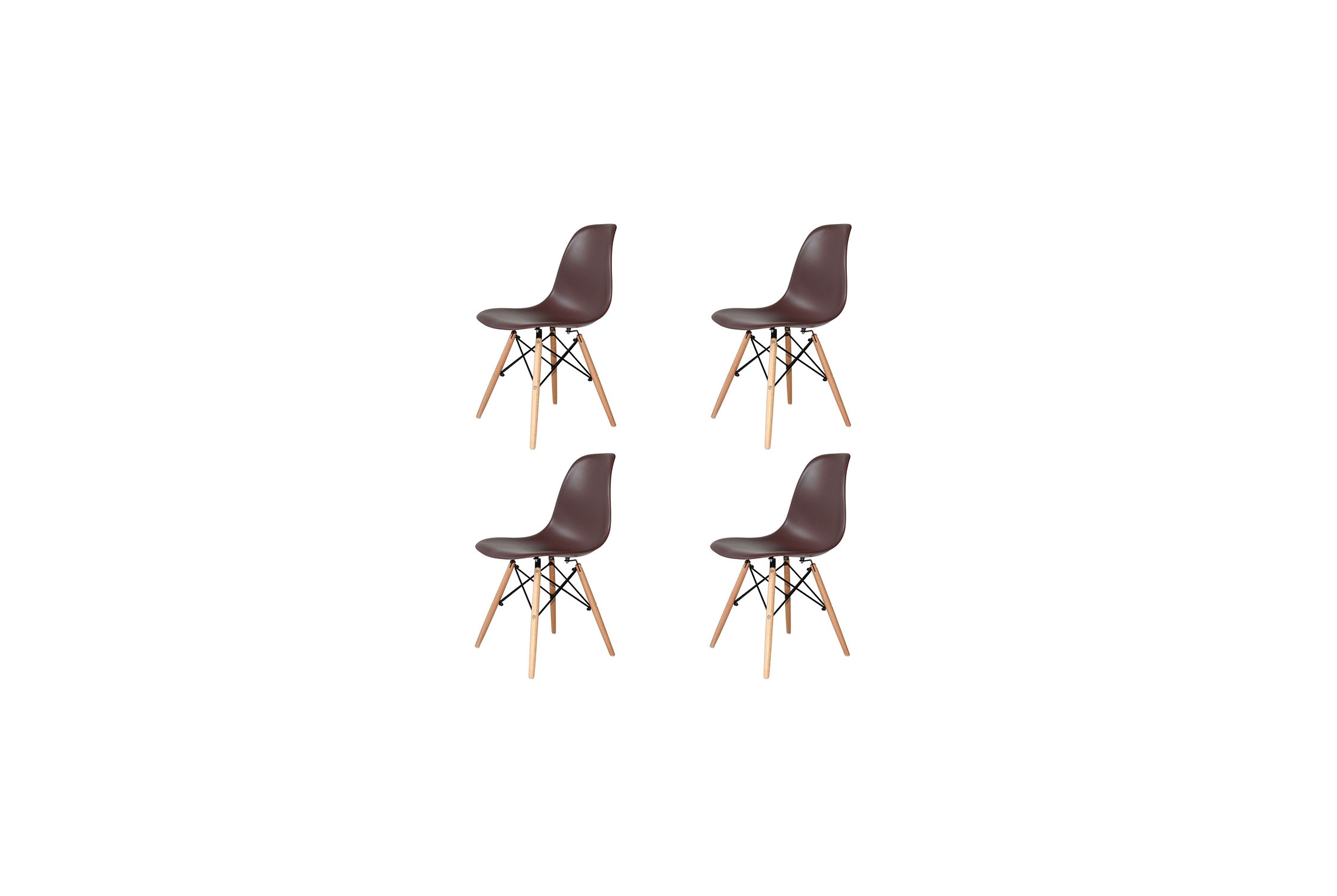 PACK 4 CHAISES TOWER WOOD MARRONS EXTRA QUALITY