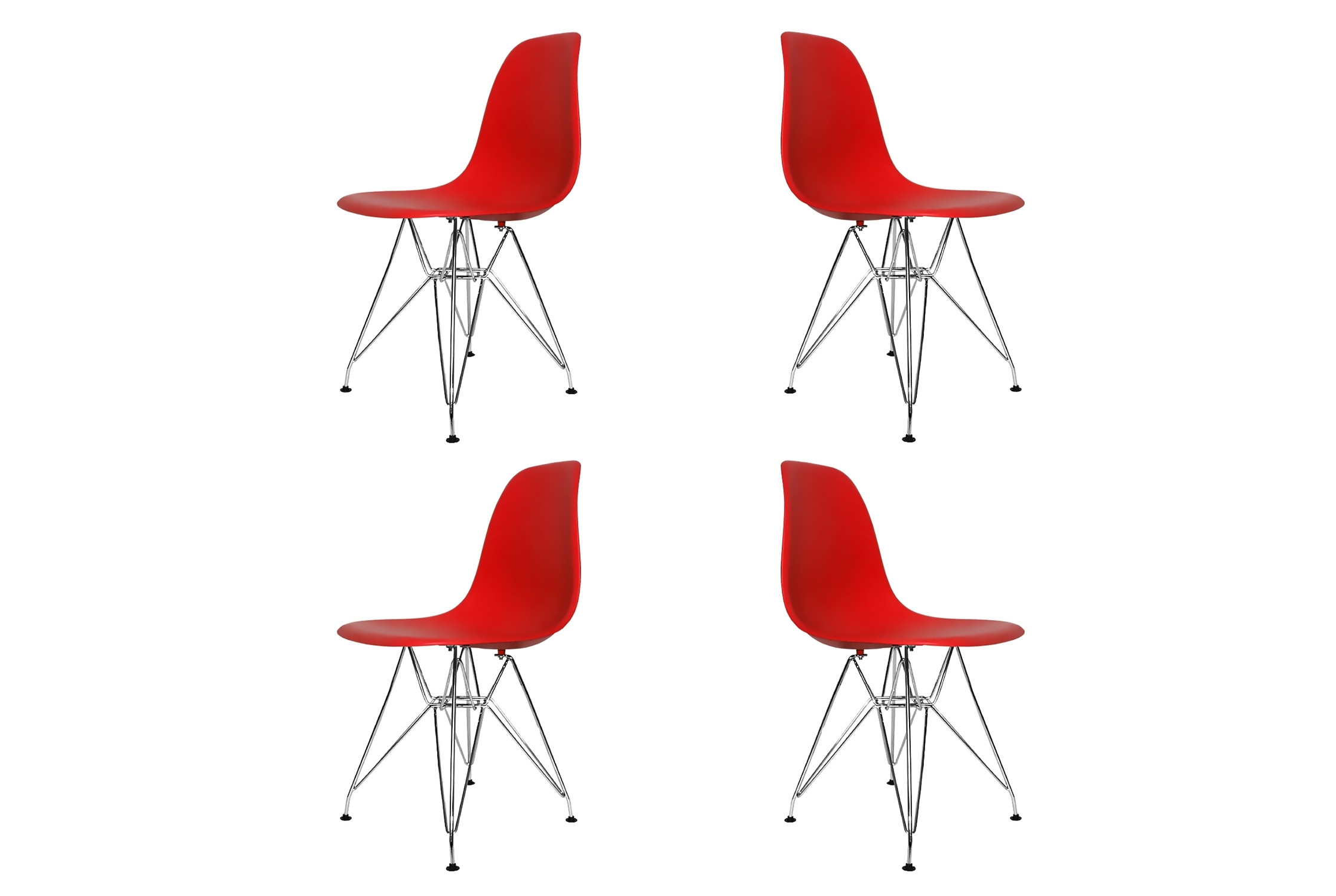 SET 4 CHAISES TOWER CHROME ROUGES EXTRA QUALITY