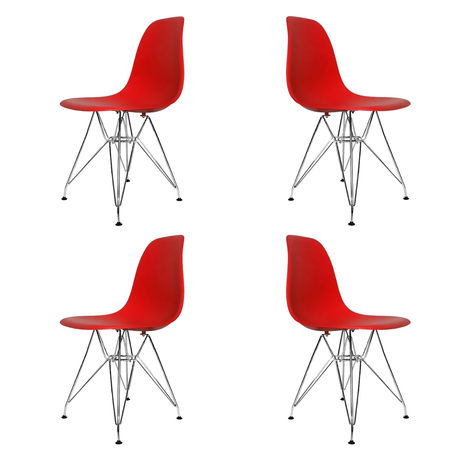 Set 4 sedie tower chrome rosse extra quality for Sedie design rosse