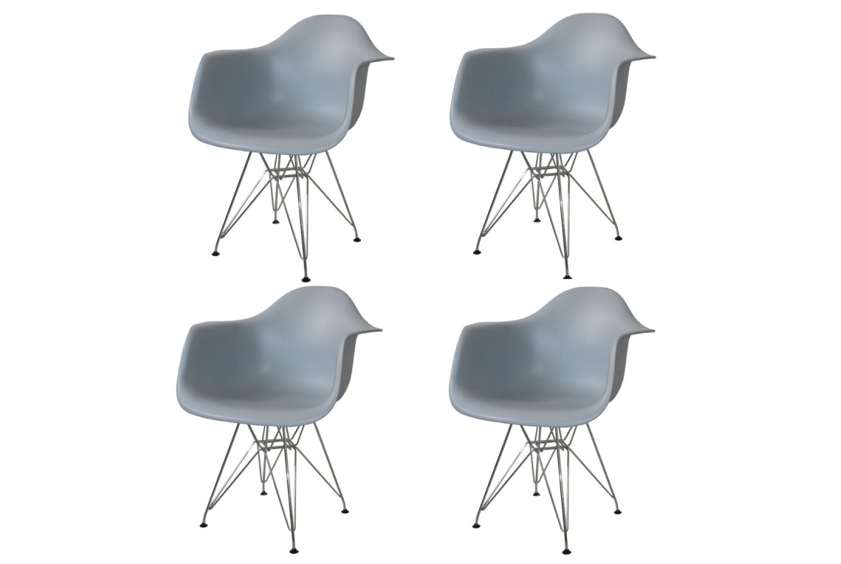 PACK 4 SILLONES TOWER CHROME GRISES
