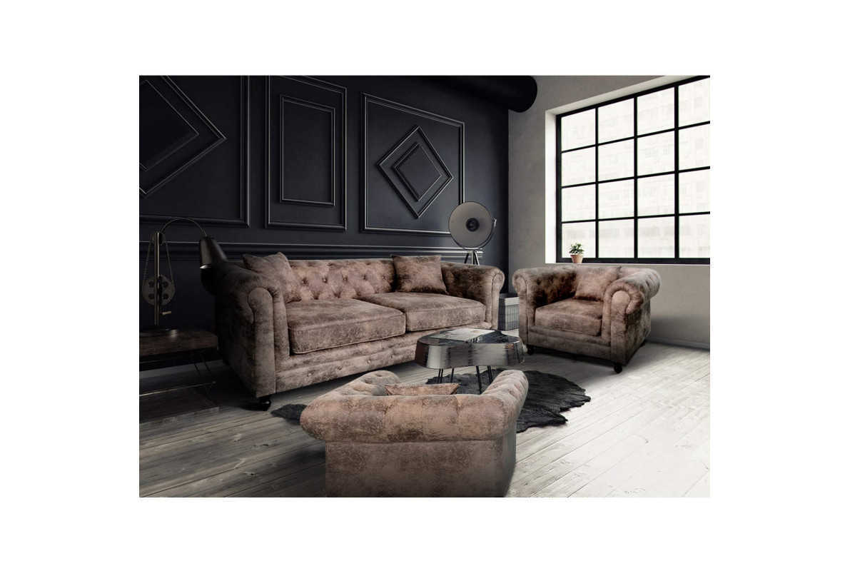 PACK SOFÁ CHESTERFIELD 3 PLAZAS + 2 SILLONES CHESTERFIELD